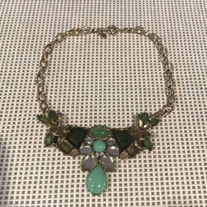 J.Crew Green & Gold Statement Necklace